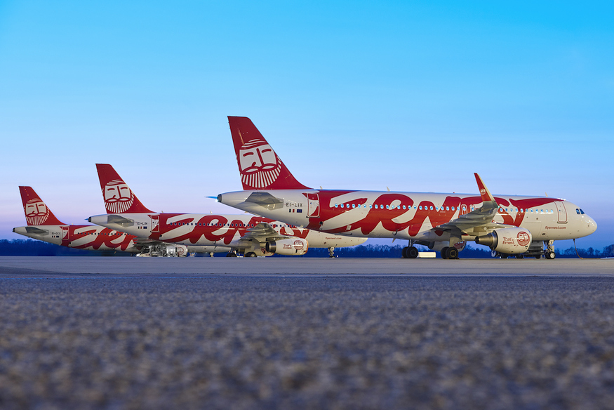 MALPENSA, ITALY - MARCH 28: Fly Ernest Photo Shoot on March 28, 2019 in Malpensa Airport, Italy. (Photo by Guido De Bortoli for Fly Ernest)