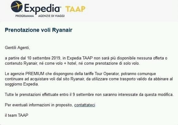 Expedia Taap: stop ai voli Ryanair per gli agenti di viaggio