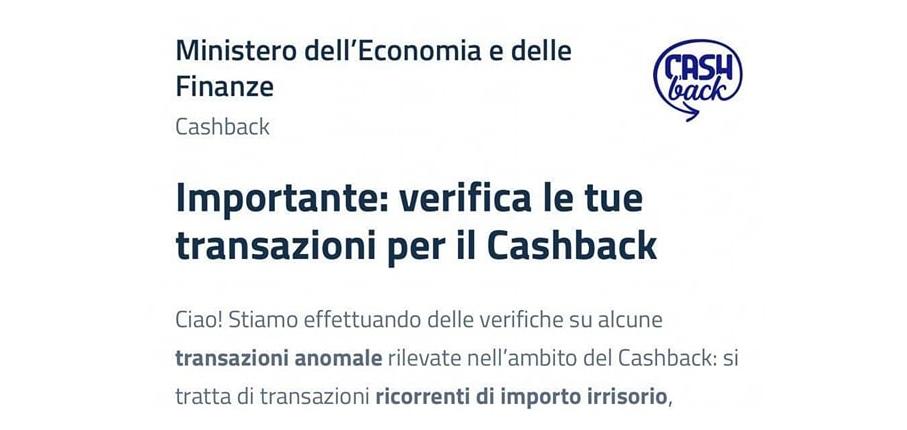 messaggio furbetti super cashback
